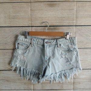 💟 BP Denim Jean Distresses Frayed Shorts, size 27
